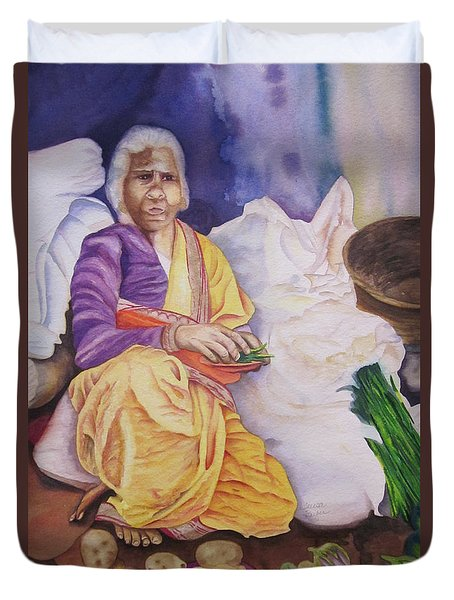 Duvet Cover featuring the painting Indian Woman At Market IIi by Teresa Beyer