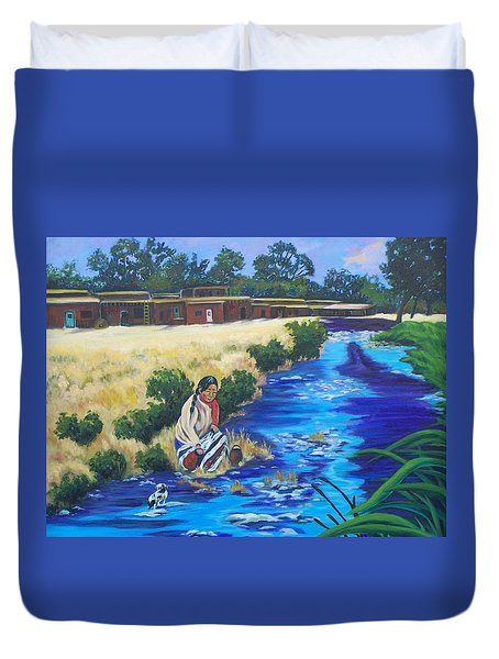 Indian Woman At The Watering Hole Duvet Cover