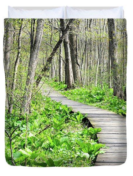 Indiana Dunes Great Green Marsh Boardwalk Duvet Cover