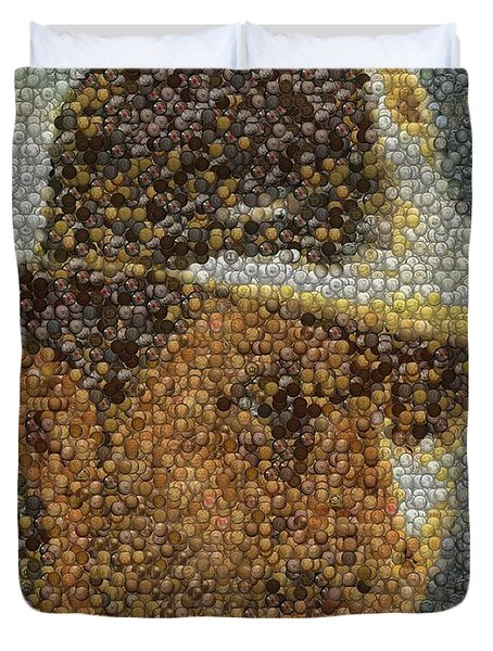 Duvet Cover featuring the mixed media Indiana Jones Treasure Coins Mosaic by Paul Van Scott
