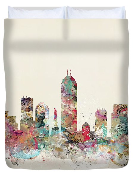 Indianapolis City Skyline Duvet Cover