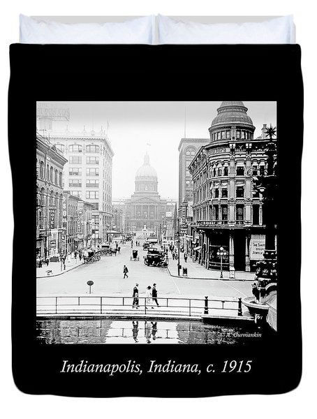 Indianapolis, Indiana, Downtown Area, C. 1915, Vintage Photograp Duvet Cover