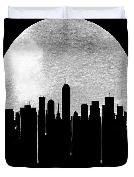 Indianapolis Skyline Black Duvet Cover
