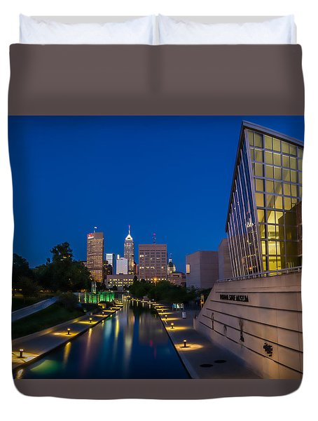 Indianapolis Skyline From The Canal At Night Duvet Cover by Ron Pate