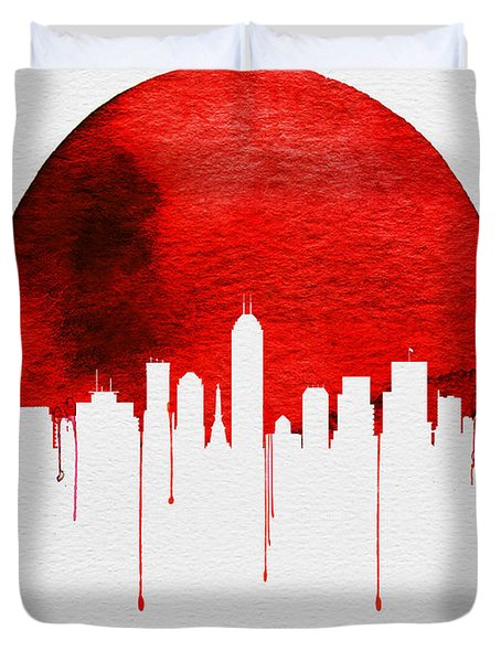 Indianapolis Skyline Red Duvet Cover