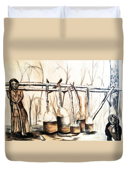 Indians Making Maple Sugar. Cass Lake. 1905  Duvet Cover by Ayasha Loya