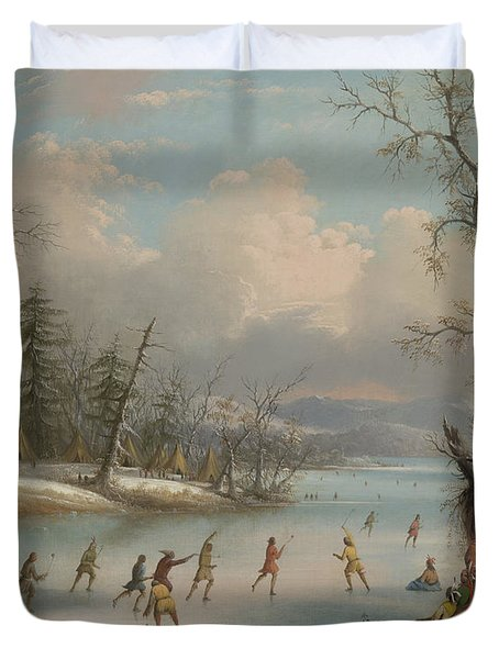 Indians Playing Lacrosse On The Ice, 1859 Duvet Cover