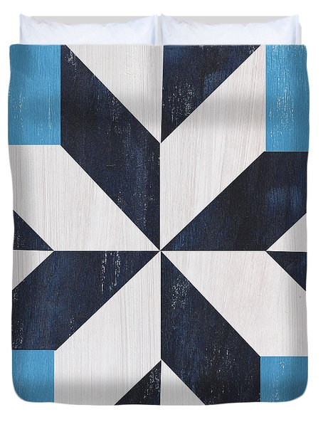 Duvet Cover featuring the painting Indigo And Blue Quilt by Debbie DeWitt