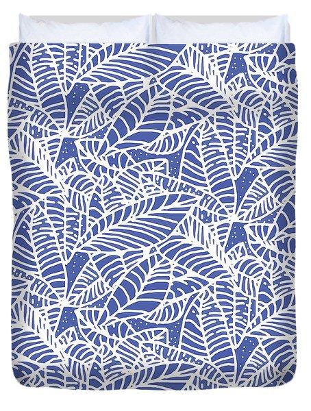Indigo Batik Leaves Medium Duvet Cover