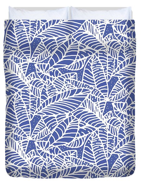 Indigo Batik Leaves Medium Duvet Cover