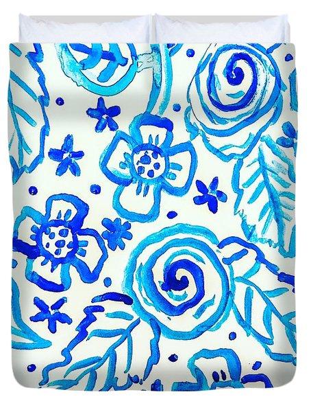 Indigo Blooms Duvet Cover