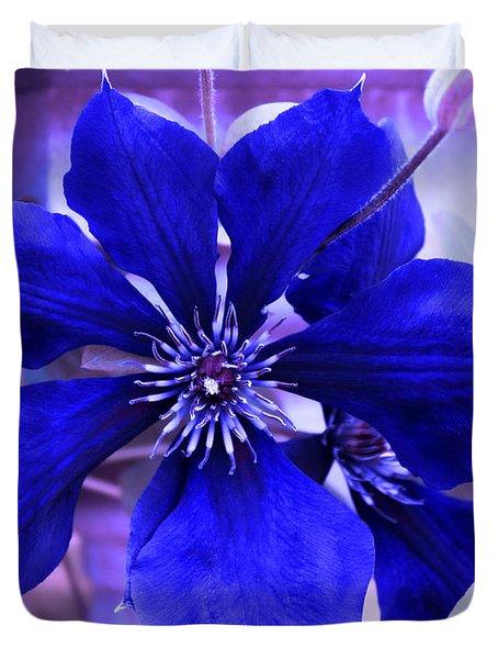 Duvet Cover featuring the photograph Indigo Flower by Milena Ilieva