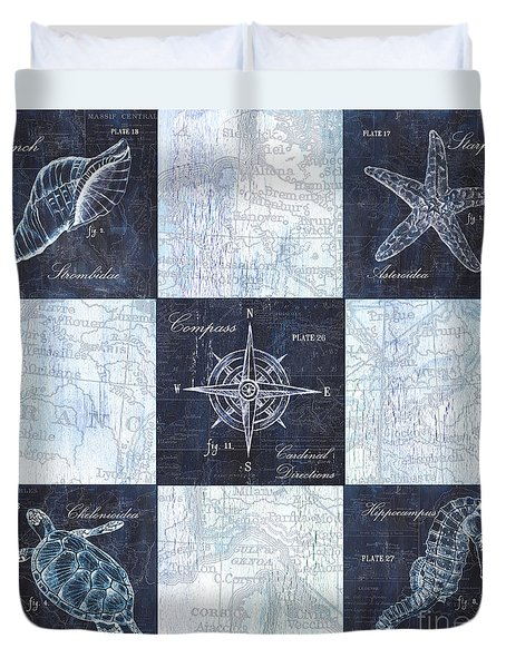 Indigo Nautical Collage Duvet Cover by Debbie DeWitt
