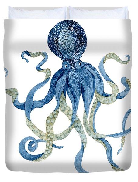 Indigo Ocean Blue Octopus  Duvet Cover