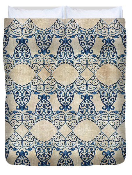 Indigo Ocean - Caribbean Inspired Watercolor Swirl Pattern Duvet Cover