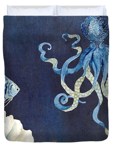 Indigo Ocean - Floating Octopus Duvet Cover