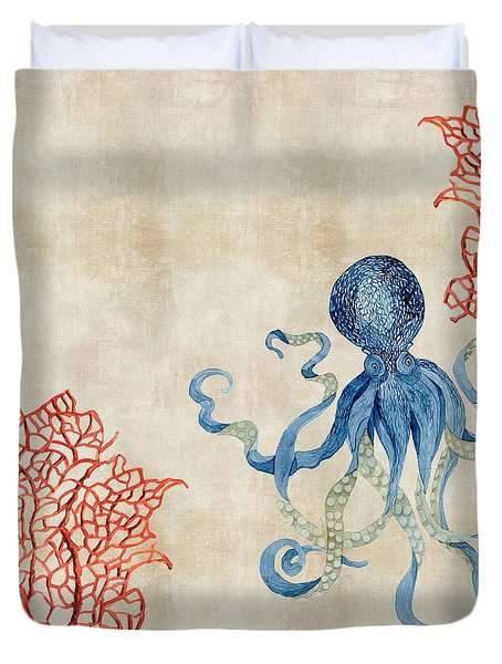 Indigo Ocean - Octopus Floating Amid Red Fan Coral Duvet Cover