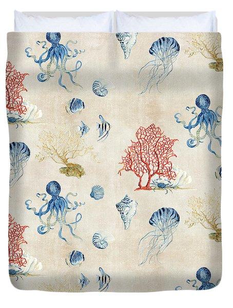 Indigo Ocean - Red Coral Octopus Half Drop Pattern Duvet Cover