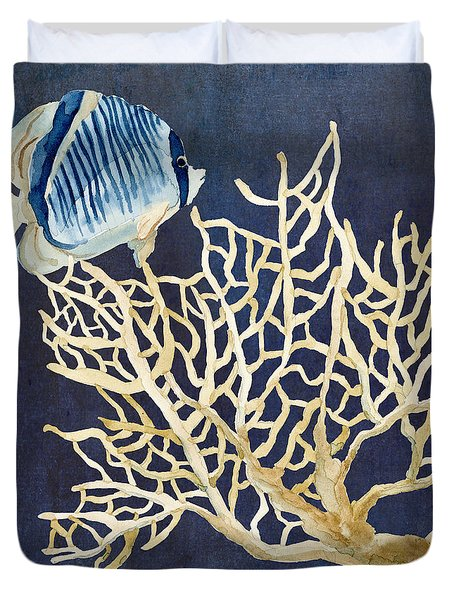 Indigo Ocean - Tan Fan Coral N Angelfish Duvet Cover