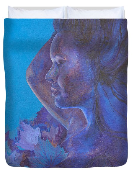 Duvet Cover featuring the painting Indigo Serene by Ragen Mendenhall