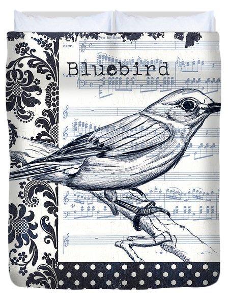 Indigo Vintage Songbird 1 Duvet Cover