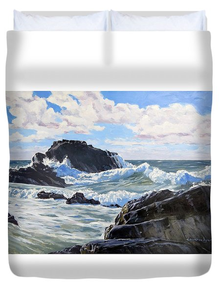 Duvet Cover featuring the painting Indomitable Rock by Lawrence Dyer
