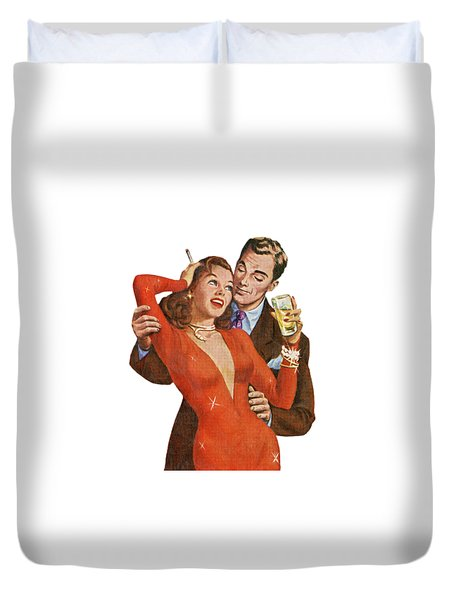 Duvet Cover featuring the digital art Indulge Me by Kim Kent
