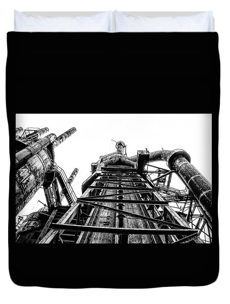 Industrial Age - Bethlehem Steel In Black And White Duvet Cover by Bill Cannon
