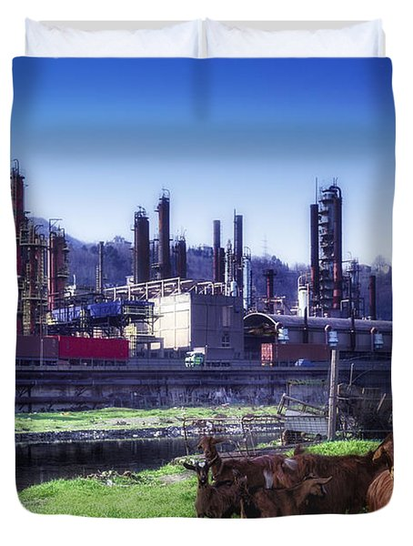 Industrial Archeology Refinery Plant With Goats Duvet Cover