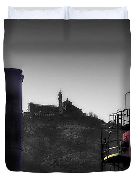 Industrial Archeology Refinery Plant With Guardia Mount Sanctuary Duvet Cover