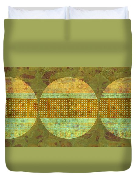 Industrial Art Spheres In Green Duvet Cover by Suzanne Powers