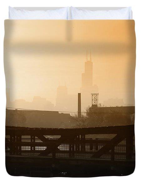 Industrial Foggy Chicago Skyline Duvet Cover