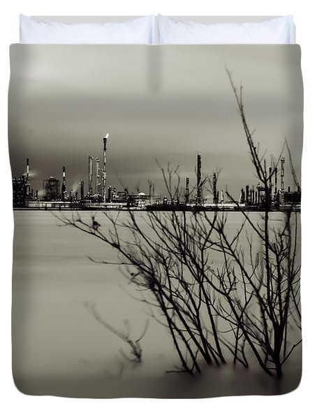 Industry On The Mississippi River, In Monochrome Duvet Cover