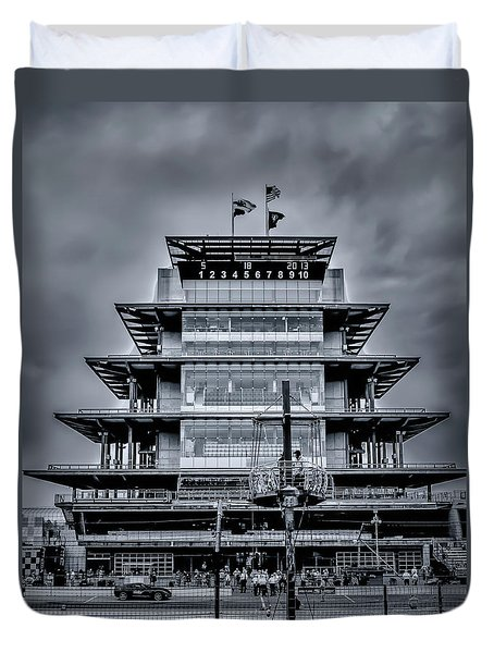 Indy 500 Pagoda - Black And White Duvet Cover