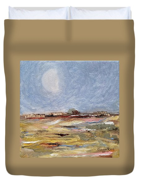 Duvet Cover featuring the painting Inevitable Epoch by Judith Rhue