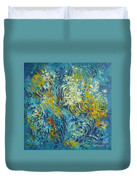 Duvet Cover featuring the painting Inflorescence 2 by Elena Oleniuc