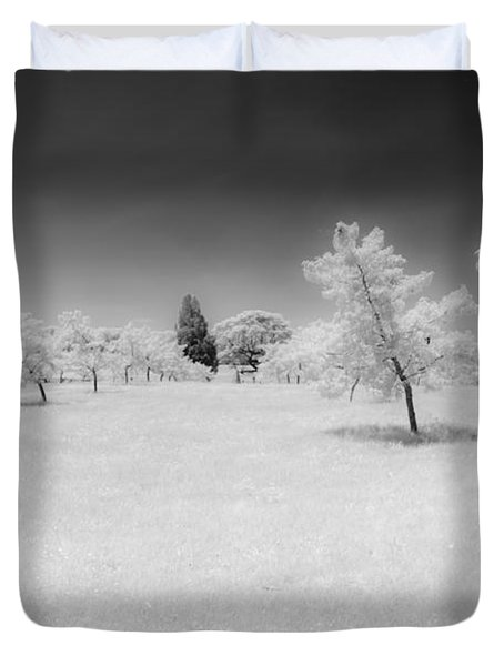 Infrared Peach Orchard Duvet Cover