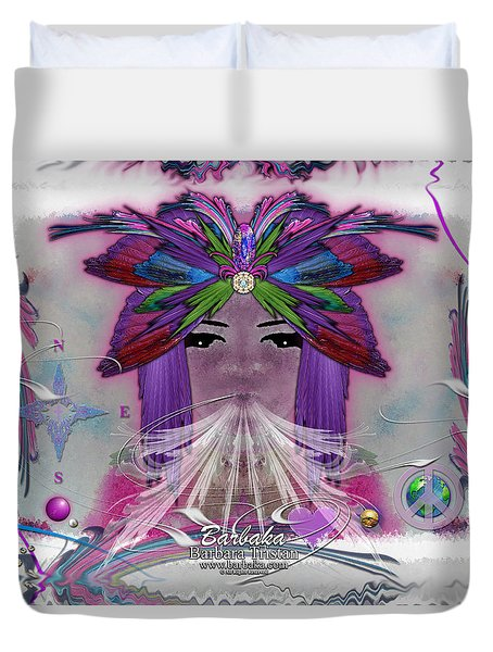Duvet Cover featuring the digital art Inhaling Exhaling Peace by Barbara Tristan