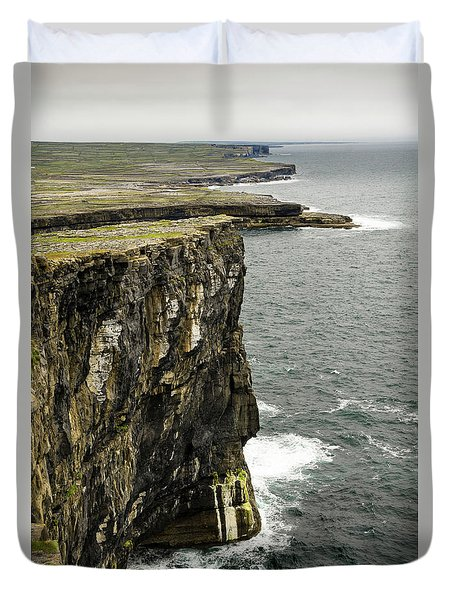 Duvet Cover featuring the photograph Inishmore Cliffs And Karst Landscape From Dun Aengus by RicardMN Photography