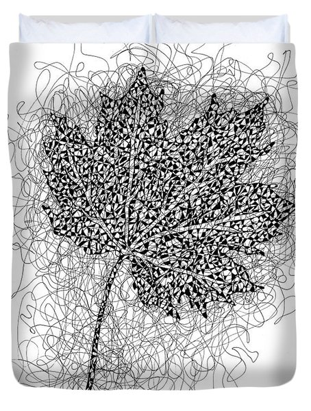 Ink Drawing Of Maple Leaf Duvet Cover