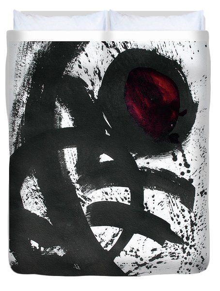 Ink On Paper Rose #2 Vertical Ink Landscape Original Fine Art Ink On Paper Duvet Cover