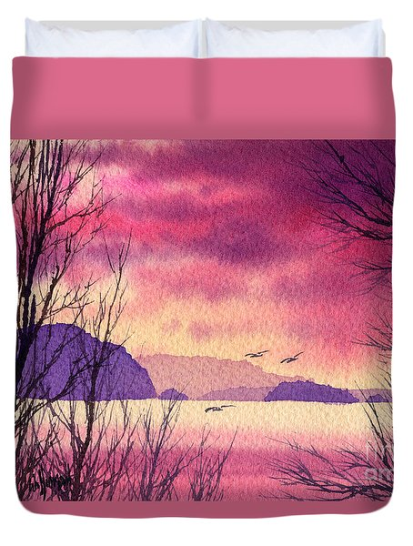 Duvet Cover featuring the painting Inland Sea Islands by James Williamson