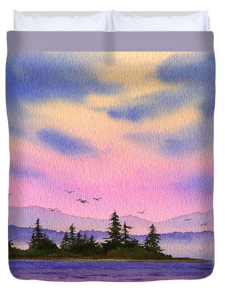 Duvet Cover featuring the painting Inland Sea Sunset by James Williamson