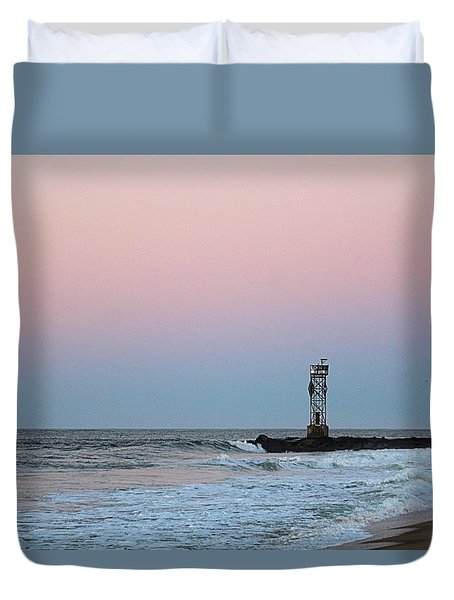 Duvet Cover featuring the photograph Inlet Jetty At Dawn by Robert Banach