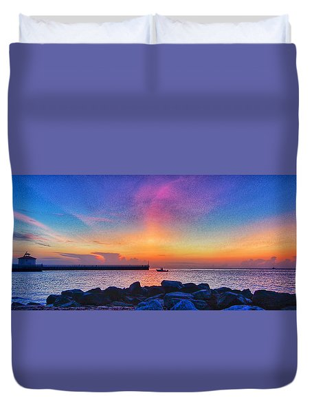 Duvet Cover featuring the photograph Inlet Sunrise by Don Durfee