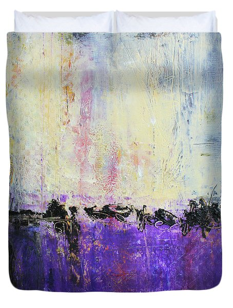 Duvet Cover featuring the mixed media Inner City Blues by Patricia Lintner