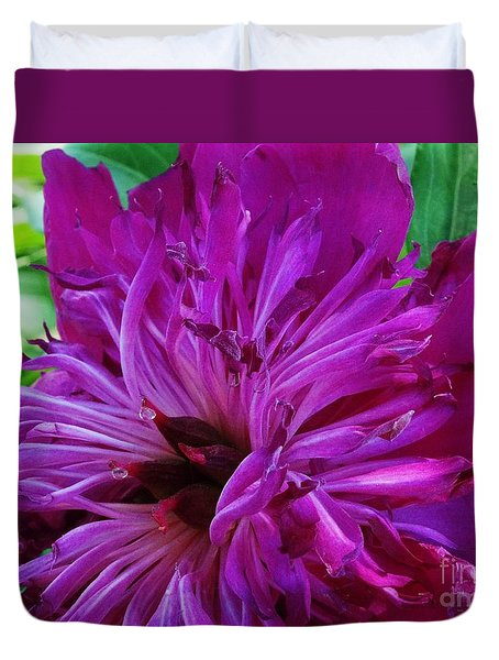 Duvet Cover featuring the photograph Inner Crimsons Peony by J L Zarek