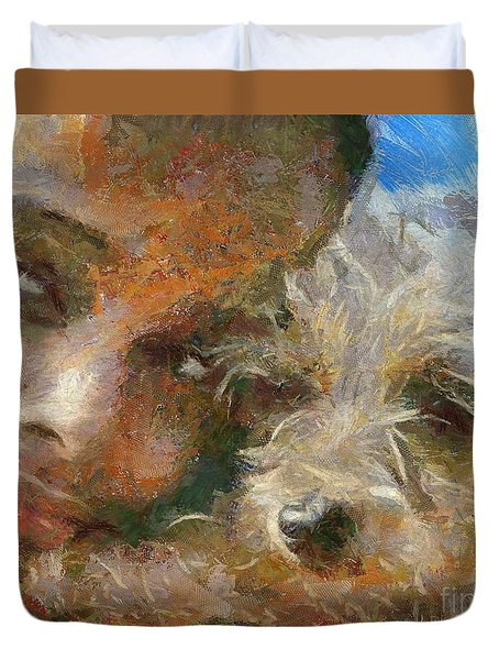 Duvet Cover featuring the painting Innocent Love by Dragica  Micki Fortuna