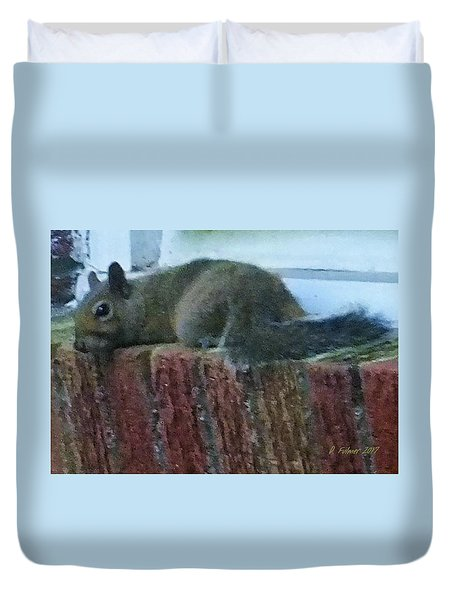 Duvet Cover featuring the photograph Inquisitor Visitor by Denise Fulmer
