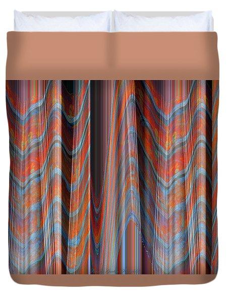 Smooth As Silk - Fabric Art - Photograph Manipulation - Aqua And Orange Duvet Cover